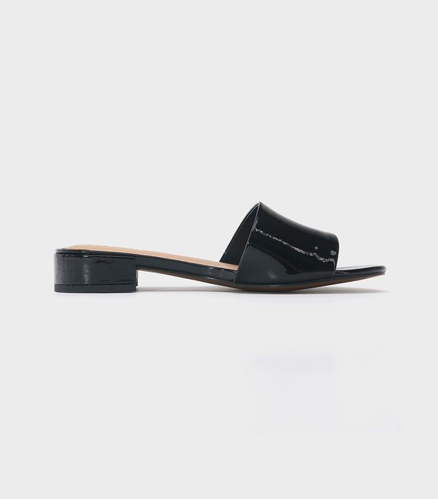 Mae Patent Heeled Slide Sandals