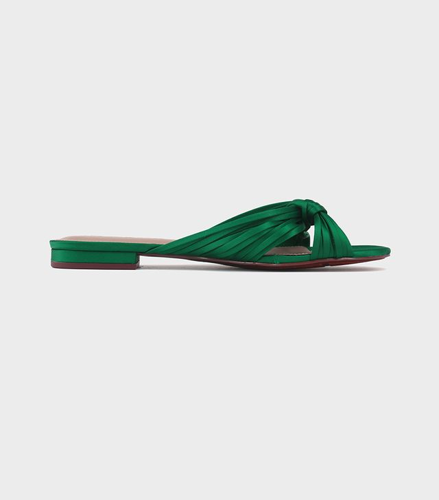 Grace Satin Knotted Slide Sandals