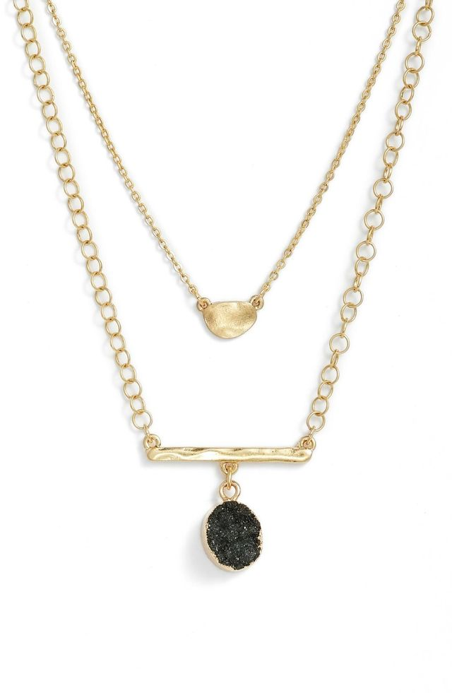 Double Drusy Bar Pendant Necklace