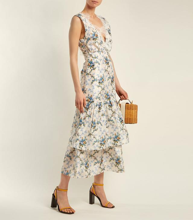 Lace-Detail Floral-Print Dress