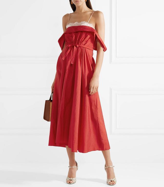 Davi Off-the-Shoulder Taffeta Midi Dress