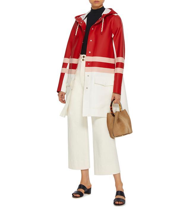 Striped Midi-Length Raincoat