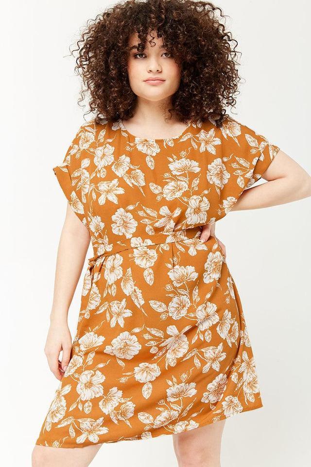 Plus Size Floral Self-Tie Shift Dress