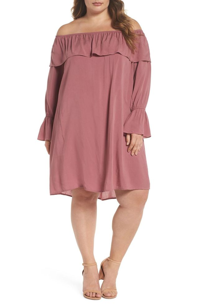 Ruffle Off-the-Shoulder Shift Dress