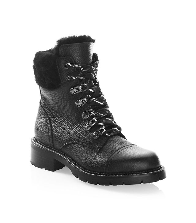 Samantha Shearling & Leather Hiker Boots