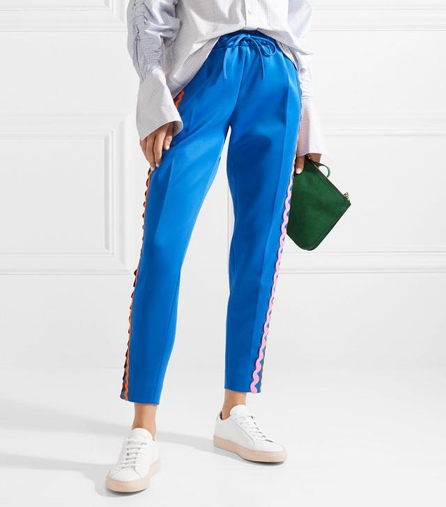 Rickrack-Trimmed Stretch-Cotton Jersey Track Pants