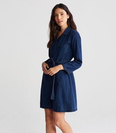 Eileen Fisher Tencel Organic Cotton Denim Shirt Dress