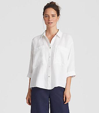 Eileen Fisher Organic Linen Tencel Crepe Boxy Shirt