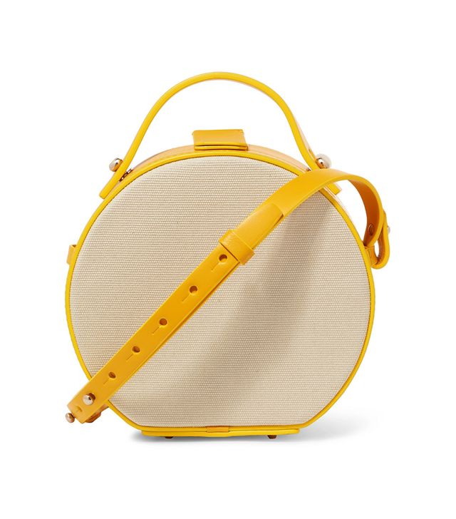 Tunilla Mini Leather-trimmed Cotton-canvas Shoulder Bag