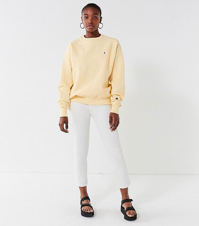 Champion & UO Reverse Weave Pullover Sweatshirt - Cream XS at Urban Outfitters