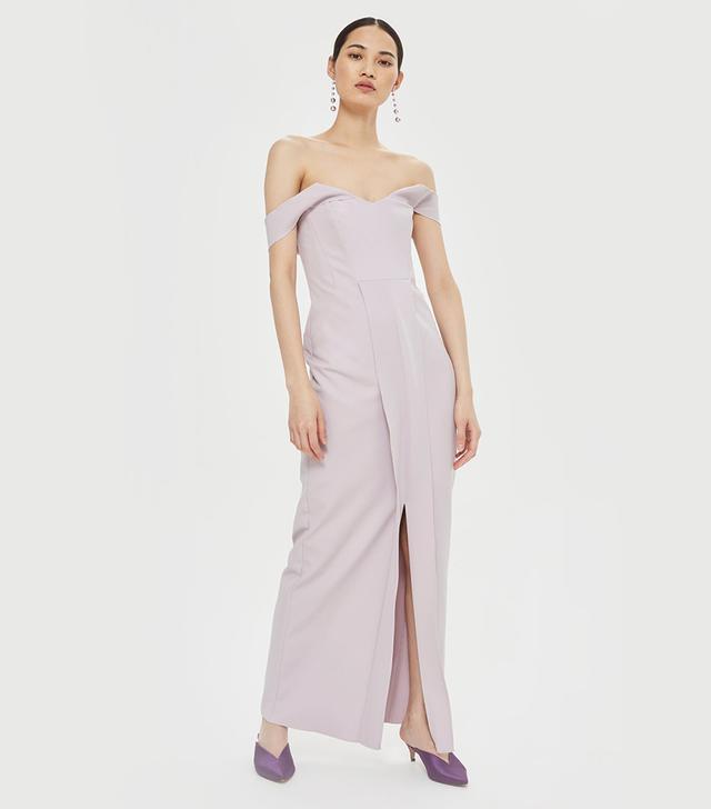 Crepe Bandeau Column Dress