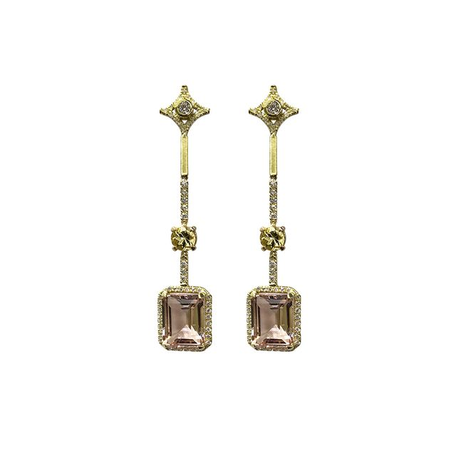 Jordan Alexander 18k Gold Diamond and Morganite Earrings