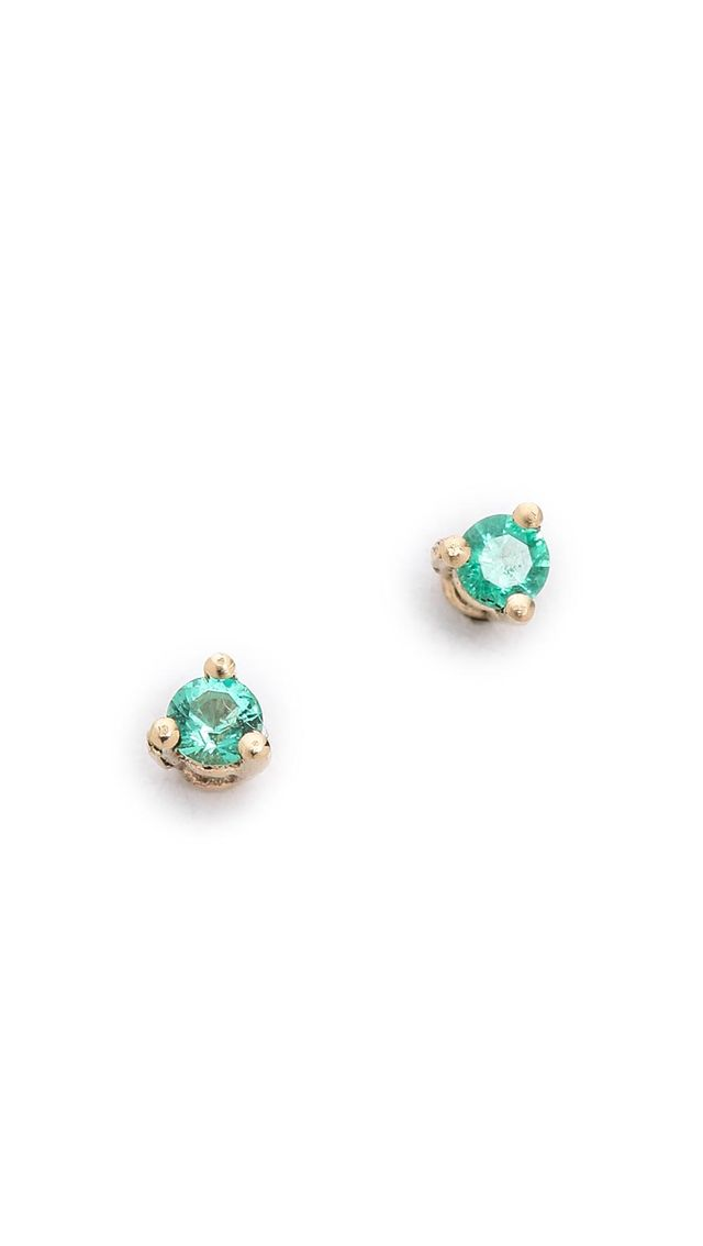 14k Gold Tiny Emerald Stud Earrings