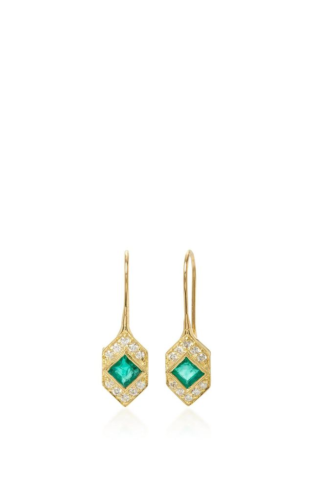 Devon Emerald and Diamond Earrings
