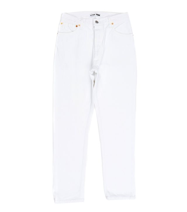 Re Done White High Rise Ankle Crop