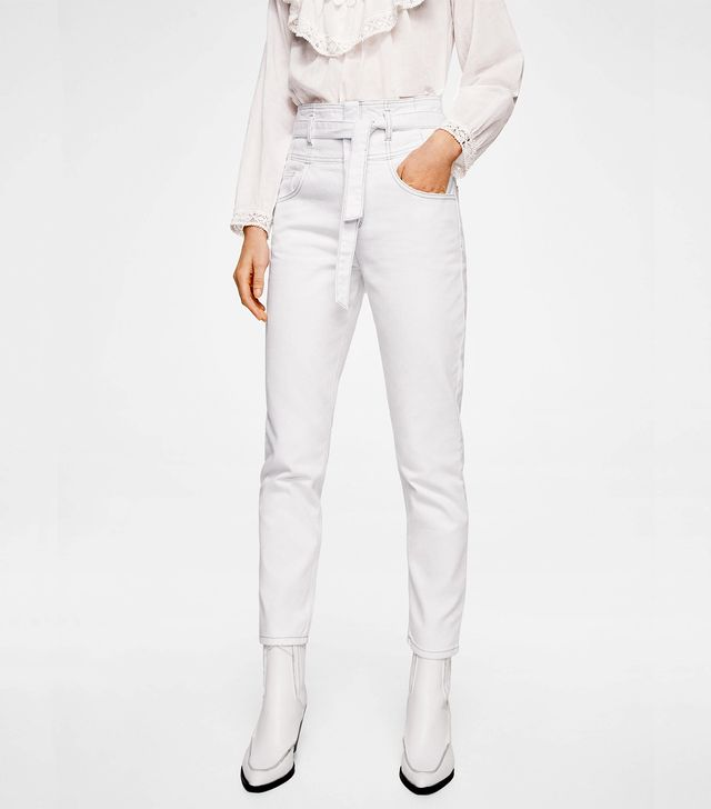 Mango Bow Detail Straight Jeans