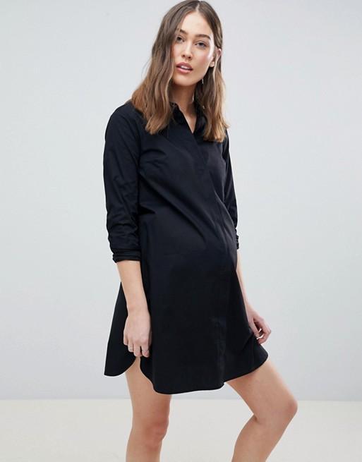 ASOS Design Maternity Cotton Mini Shirt Dress