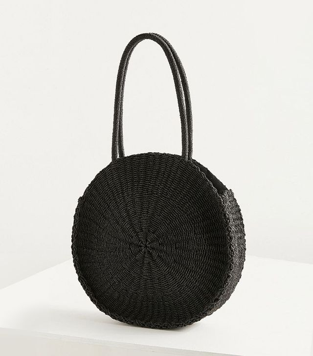 Large Circle Straw Shoulder Bag