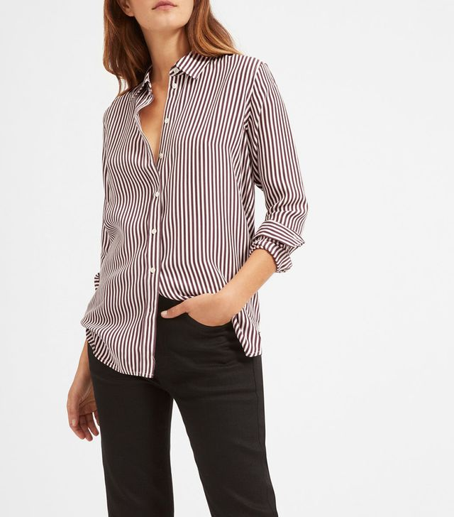Women's Relaxed Silk Shirt by Everlane in Burgundy / Bone, Size 12