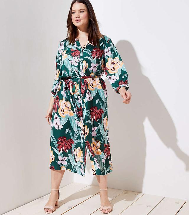 Loft Tropical Tie Waist Midi Shirtdress