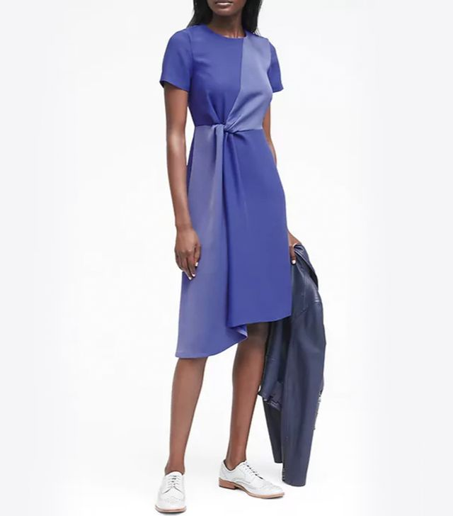 Banana Republic Mixed-Media Fit-and-Flare Dress