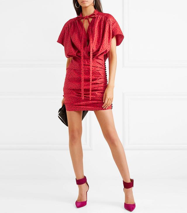 Reno Polka-dot Linen-blend Mini Dress