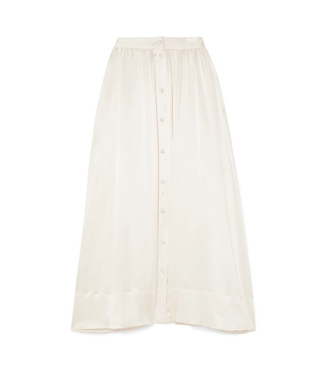 Bell Silk-satin Midi Skirt