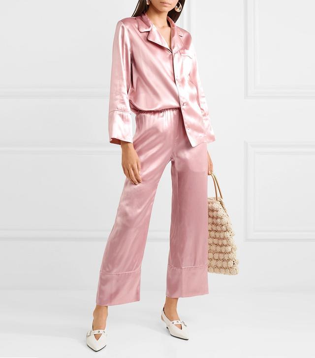 Ingrid Cropped Silk-satin Wide-leg Pants