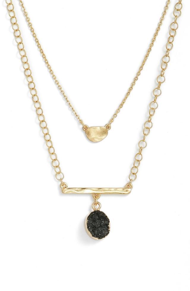 Double Drusy Bar Pendant Necklace