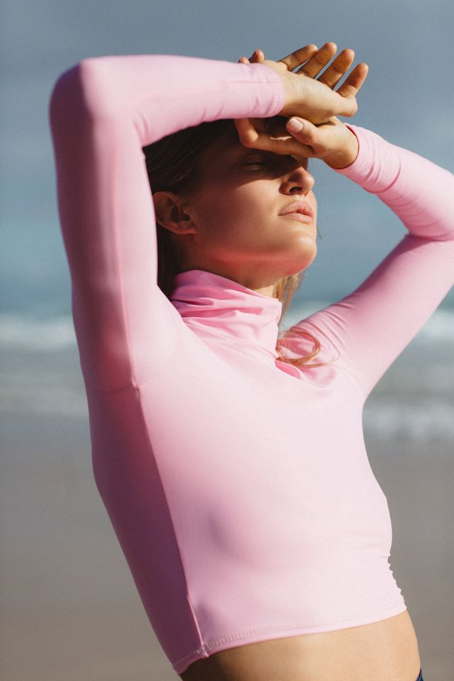 Salt Gypsy Turtleneck Rashguard in Candy Pink