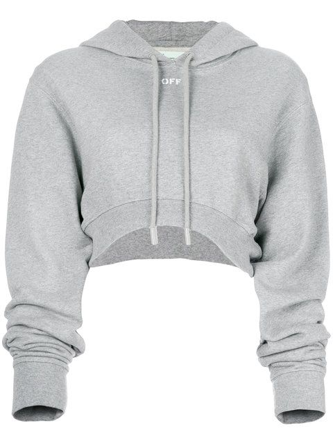 Cropped Mélange Cotton-Jersey Hooded Top