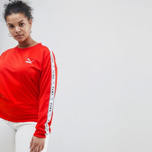 Sweatshirt With Taped Side Stripe in Red