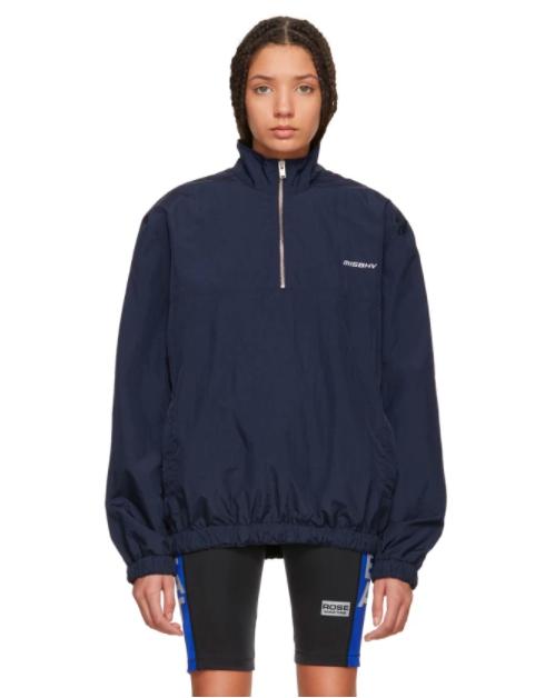 Misbhv Navy Half-Zip Sport Track Jacket
