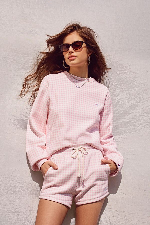 Champion + HVN for Urban Outfitters Gingham Crew-Neck Sweatshirt