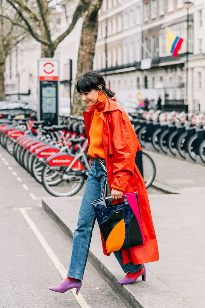 Street style straight leg jean trend red coat purple mules