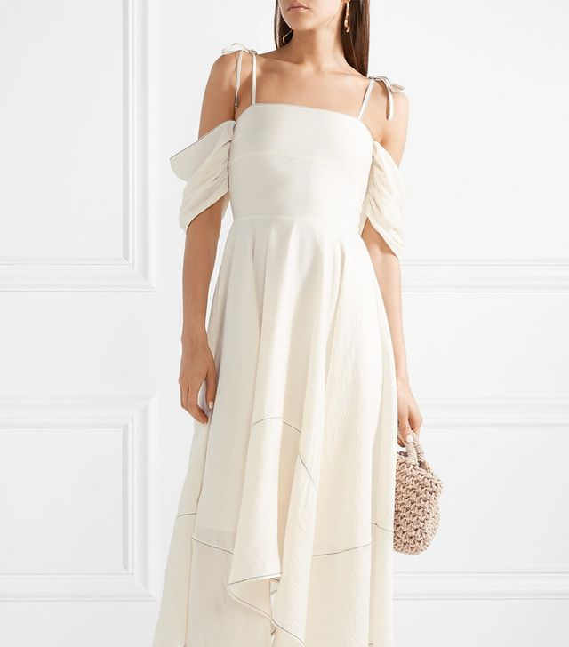 Audrey Cold-shoulder Crepe Maxi Dress