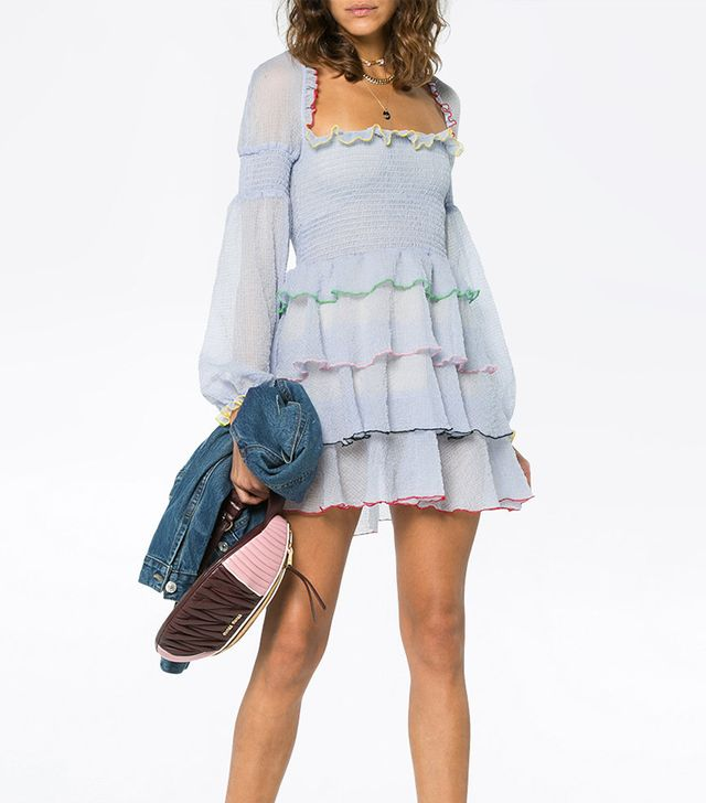 Evian mini dress with tiered ruffles