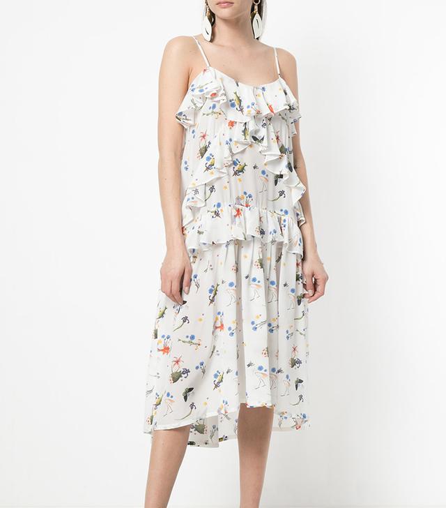 fish-print ruffled midi dress