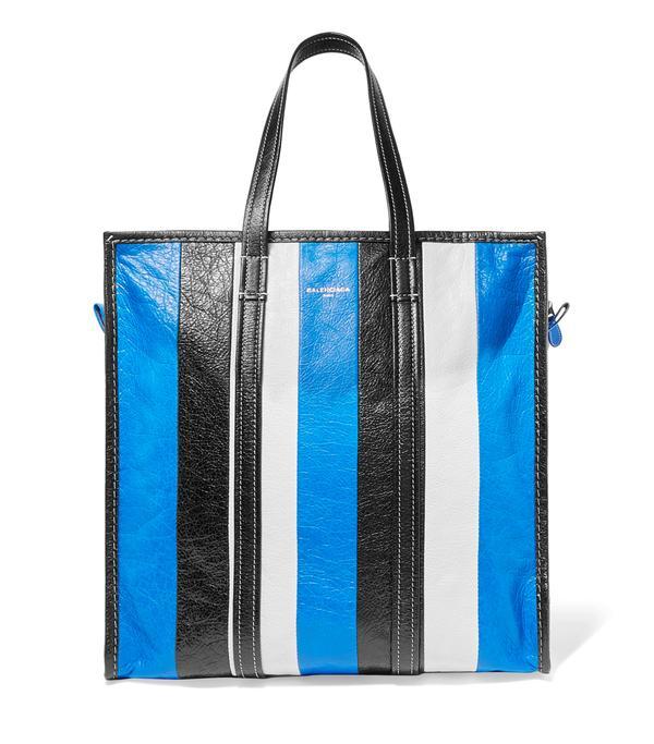 Bazar Medium Striped Textured-leather Tote