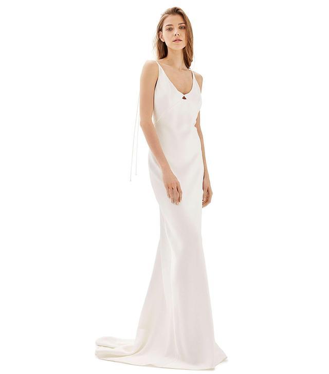 Bride V-Neck Satin Sheath Gown