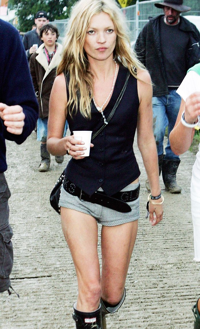 2005 fashion: Kate Moss at Glastonbury in a waistcoat