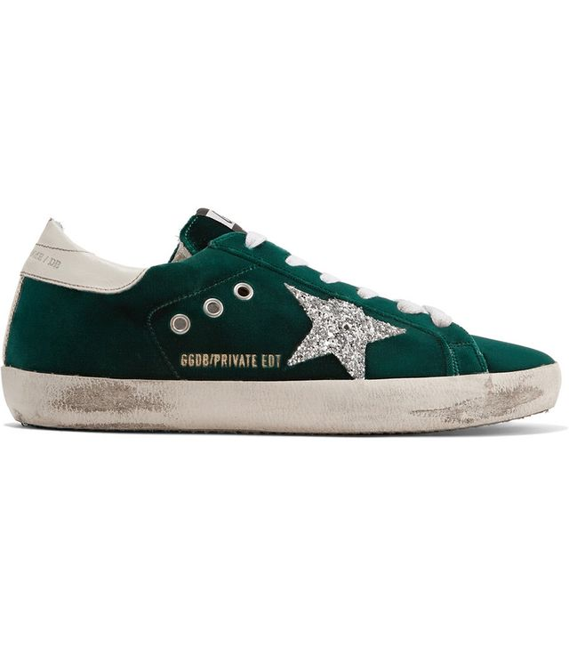 Superstar Glittered Velvet Sneakers