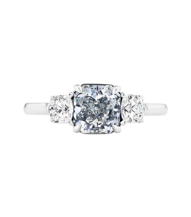 GIA Certified 1.41 Carat Gray Blue Radiant Cut Diamond Engagement Ring