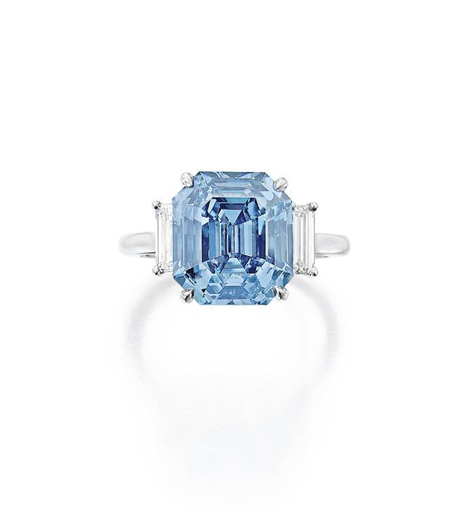Exquisite Fancy Vivid Blue Diamond and Diamond Ring