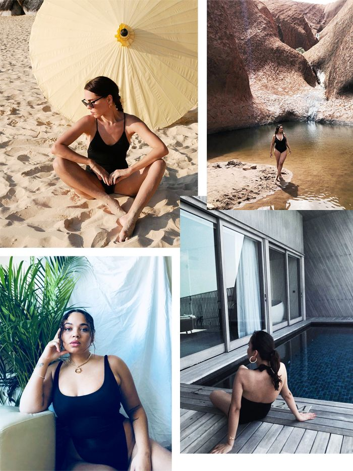 Best black swimsuits: influencers wearing simple black swimming costumes on holiday