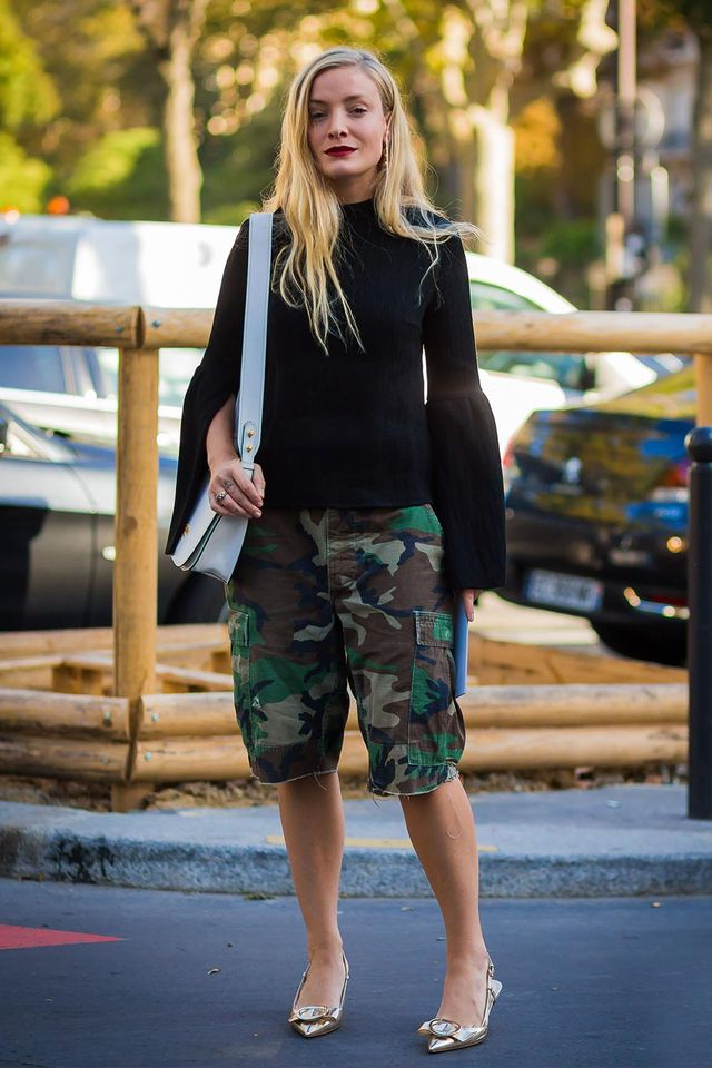 Kate Foley in camo Bermuda shorts