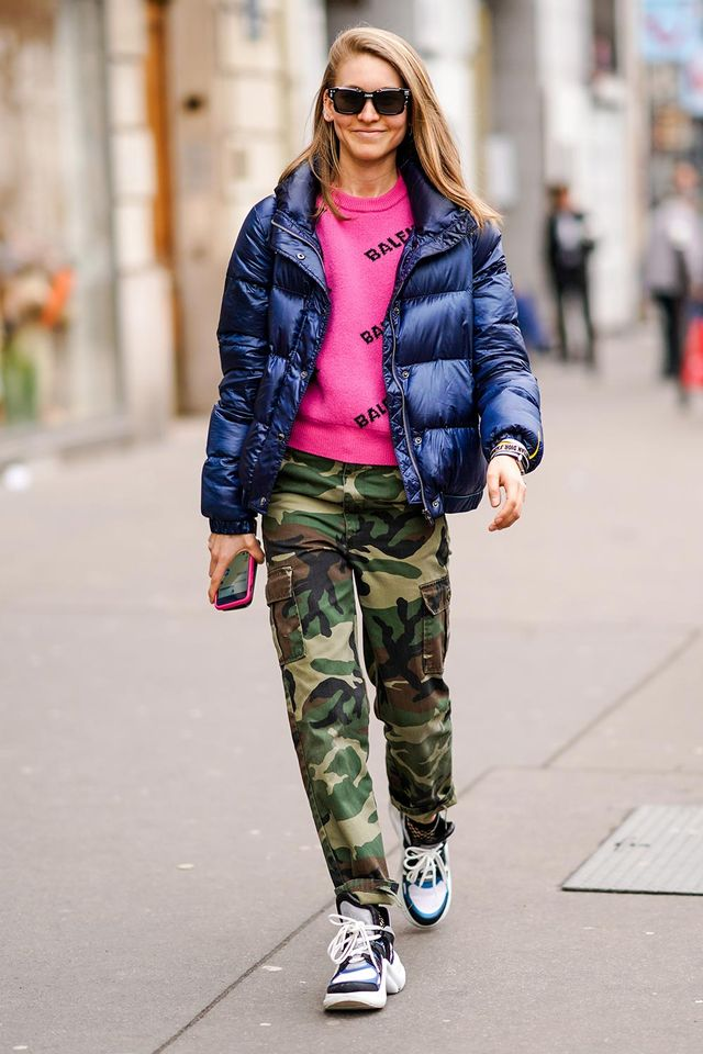 Jessica Minkoff in a puffer jacket with camo pants