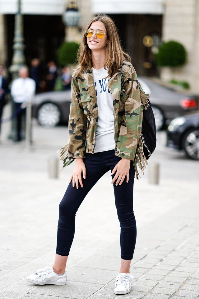 Camo jacket with skinny jeans