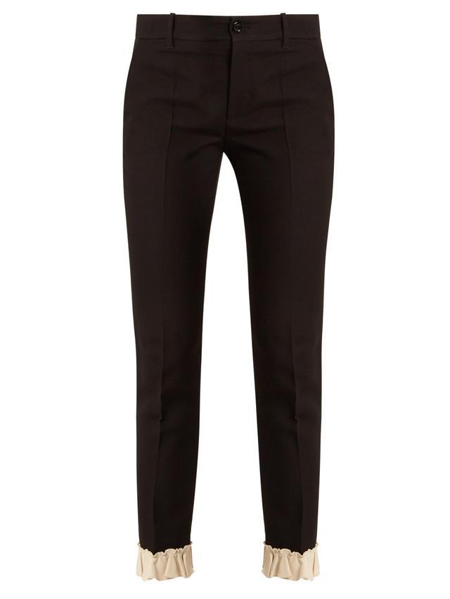 Ruffled-hem silk and wool-blend trousers