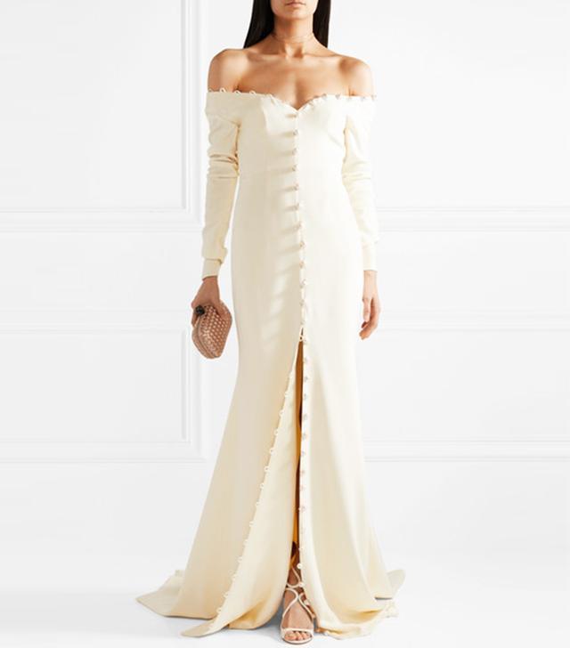 Pearl-Embellished Off-The-Shoulder Silk-Crepe Gown